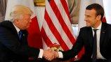 当地时间2017年5月25日,比利时布鲁塞尔,正在当地出席北约峰会的美国总统特朗普与法国总统马克龙举行首次会晤。