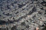 当地时间2017年10月11日,美国加州圣罗莎,大火灾区俯瞰景象。