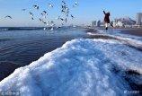 2018年1月11日,山东青岛。连续低温天气,石老人海水浴场出现海冰,海面细碎的海冰随着海浪冲上沙滩。