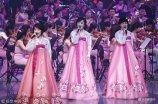 当地时间2018年2月8日,韩国江陵,朝鲜艺术团在江陵艺术中心举行庆冬奥首演。