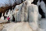 在北京门头沟区王平镇山谷里,一处长70米,高约8米的山泉水凝结形成的天然冰瀑蔚为壮观,吸引游人前来观赏。
