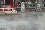 2019年2月14日,济南,由于趵突泉泉水高于室外温度,三股泉水处热气云雾缭绕如开水壶,吸引不少市民驻足拍照观看。