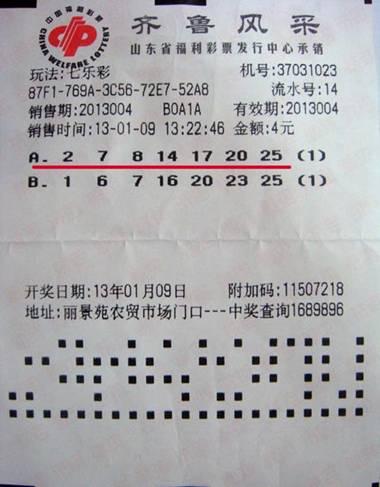 【淄博】老板临阵换将 一举拿下七乐彩53万头奖