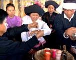 布朗族拴线婚礼