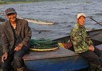 从山东东平来嫩江打渔的渔民