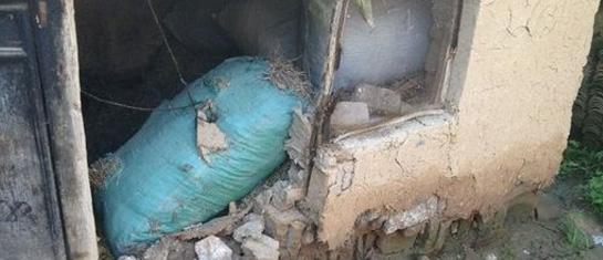 民房受地震影响部分倒塌