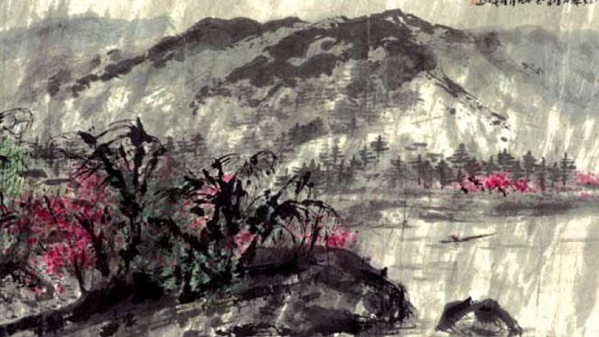一湖烟柳半山云 2014年 142.5×364cm