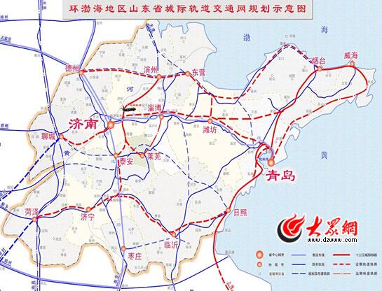 """山东规划""""快速铁路网"""" 2030年城铁达3753公里"""