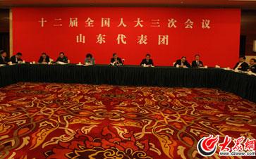 十二届全国人大三次会议山东代表团举行开放团组活动