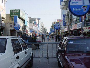 银川的鼓楼与步行街