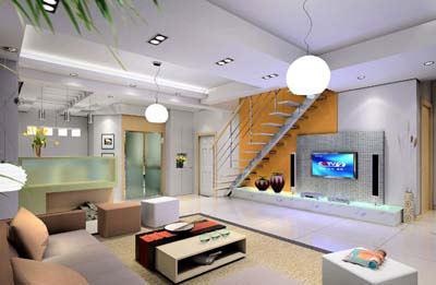 设计师把位于沙发后面两扇窗户的边用白橡木的饰面板