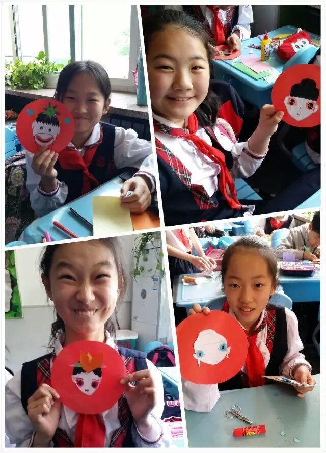 教师张燕妮老师走进课堂,给孩子们上了一节精彩的京剧脸谱剪贴画课程.