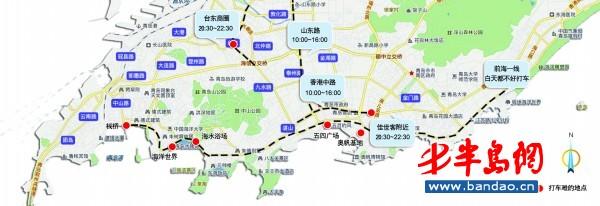 记者绘出青岛打车难点地图 十几人向一辆车招手