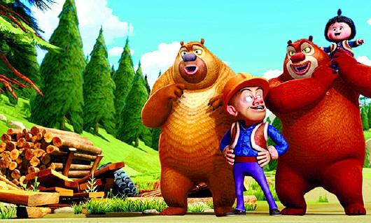 """熊大,熊二通过3d特效扔水果,价值千万的萌娃""""嘟嘟"""",都为《熊出没》"""