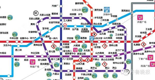 济南市城轨站点地图(部分)