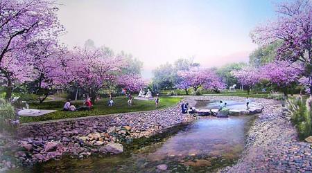 自然山岳风光带雕塑公园水系效果图.
