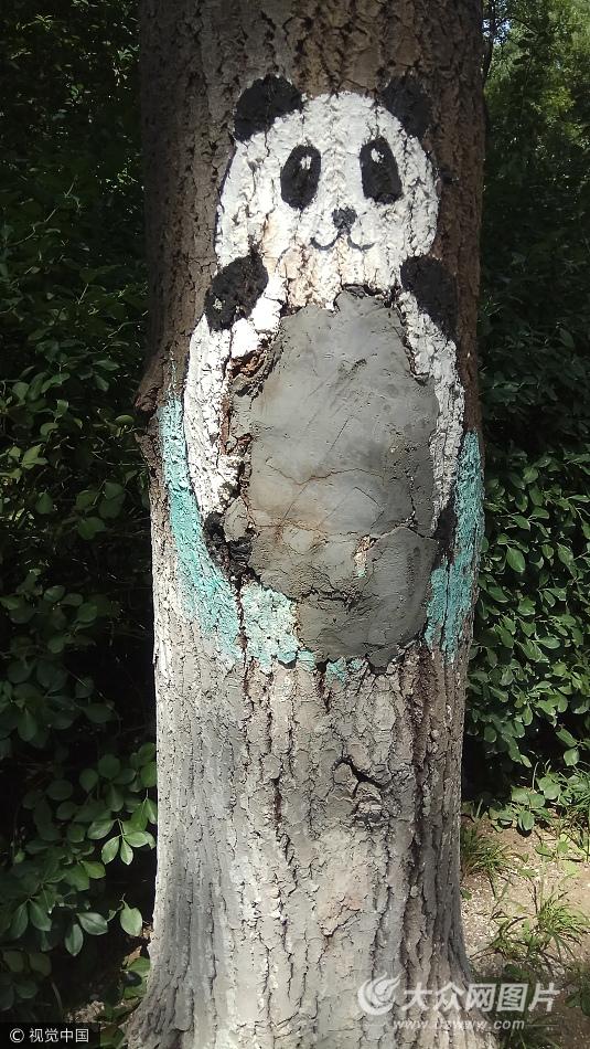 在济南动物园内,数十颗大树树洞里被人画上惟妙惟肖的创意动物卡通画图片