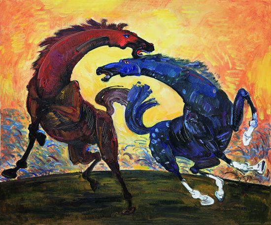 奔腾2014马文化雕塑油画展首展在济南开幕图片