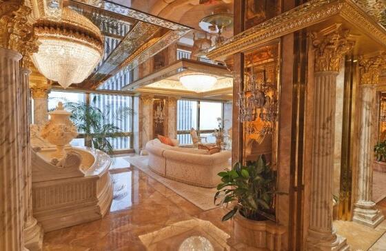 外媒曝川普大楼内景 金碧辉煌豪华胜过白宫