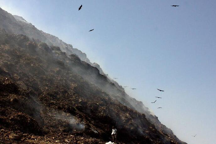 印度德里垃圾成山 50万人拾荒其上