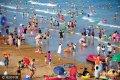 2017年7月13日,山东青岛8大海水浴场,30万左右的国内外游客来到海边和沙滩,与海水亲密接触,享受海水带来的清凉。