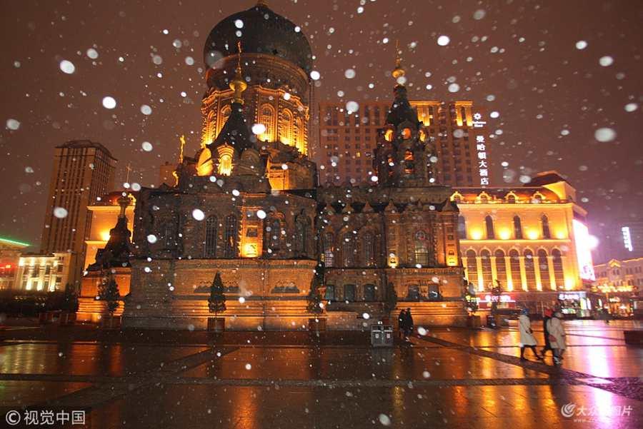 哈尔滨降下今冬初雪
