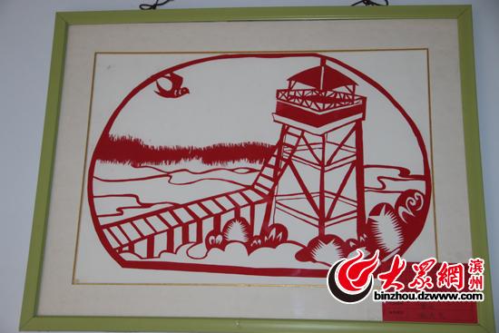 小学生原创滨州地标建筑剪纸作品 小手剪出大艺术