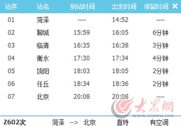 菏泽到北京特快Z602列车时刻表-5月15日起,菏泽至北京将有始发特快高清图片