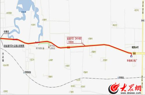 章丘电厂余热项目管线走向示意图
