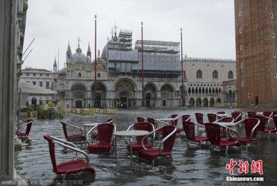 """水城威尼斯水位持续升高 广场被""""浸泡"""""""