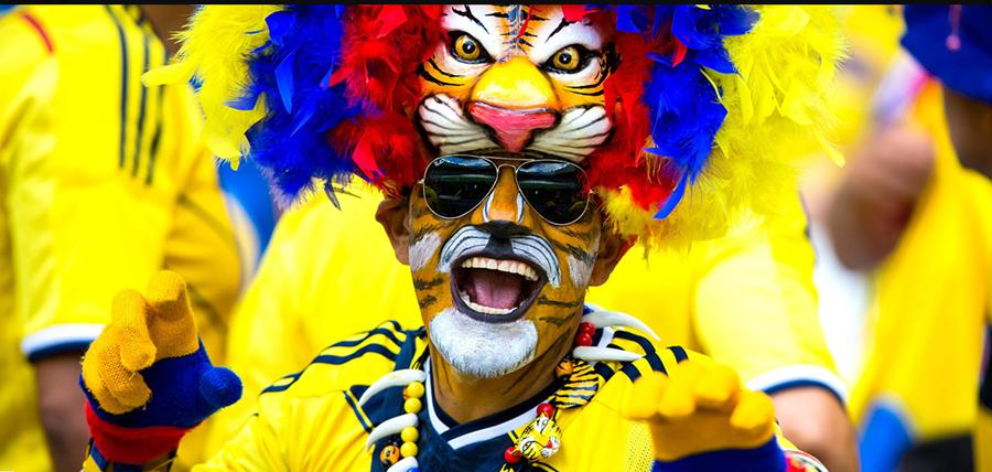 6月14日,一名哥伦比亚队球迷在开赛前。当日,在巴西贝洛奥里藏特米内罗大球场进行的2014年巴西世界杯小组赛C组比赛中,哥伦比亚队对阵希腊队。