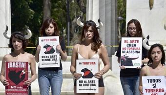 墨西哥动物保护者穿内衣示威 抗议斗牛活动