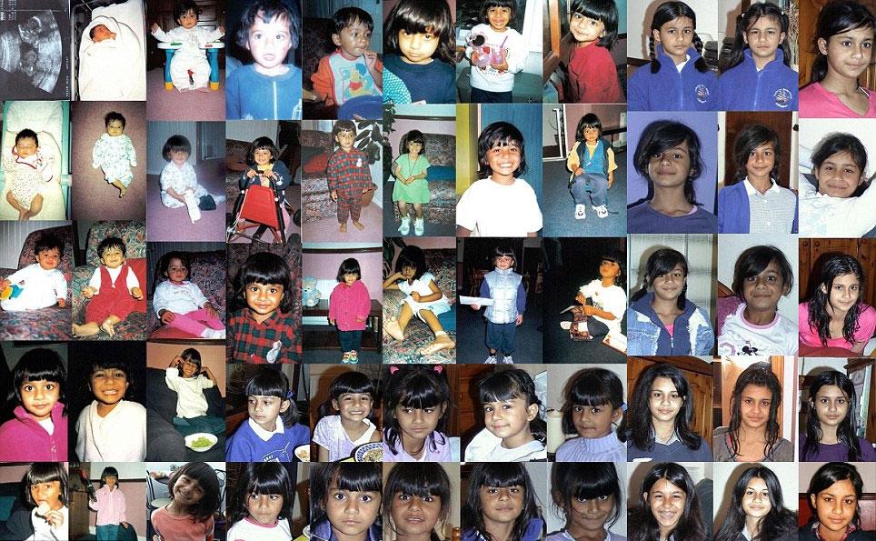 英国父亲穆尼什・班萨尔每天为女儿拍照,坚持18年已拍摄6570张。