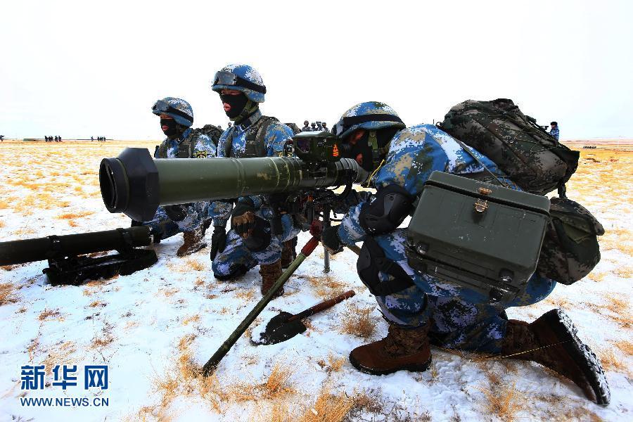 2月26日,身着寒区装具的海军陆战队员进行寒区训练。