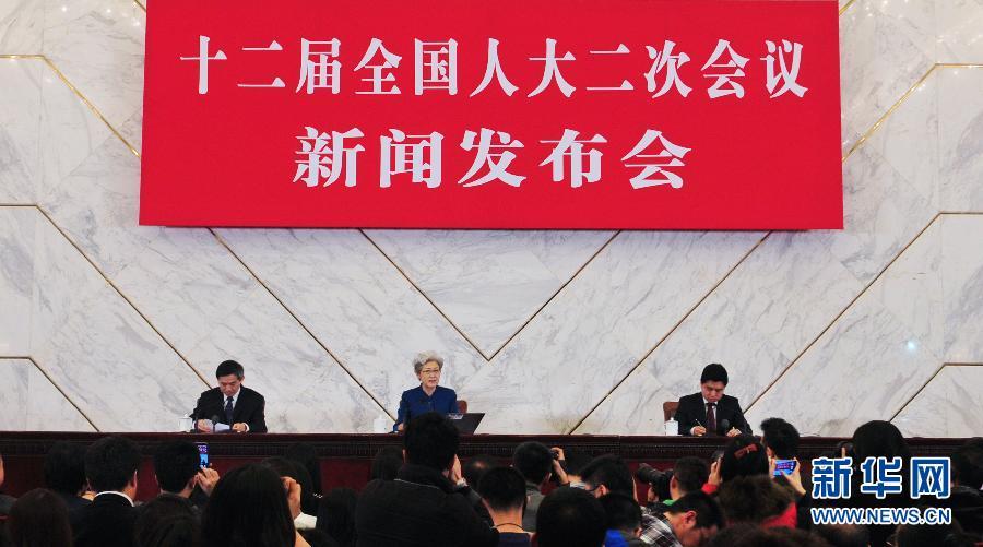 3月4日,十二届全国人大二次会议在北京人民大会堂举行新闻发布会。大会发言人傅莹介绍本次会议的有关情况,并回答中外记者提问。 新华社记者肖艺九摄