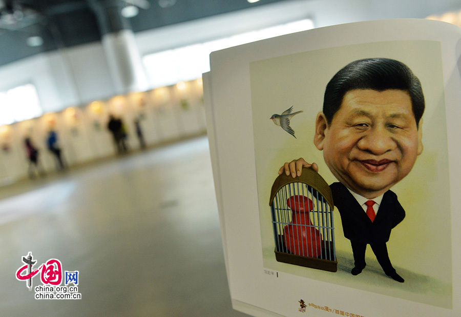 2014年04月29日,浙江省杭州市,拍摄到的习近平的漫画像。中国网图片库龙巍 摄影
