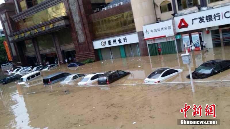 惠州汽车站附近是水浸街为严重的区域之一。