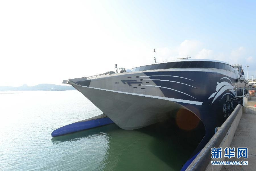 """停靠在港口的""""海峡号""""客船(8月29日摄)。"""