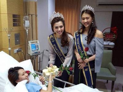 泰国小姐探望爆炸受伤的中国游客