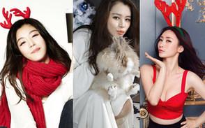 明星火红装扮 谁是最美圣诞女神?