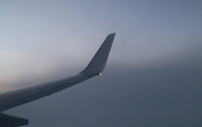 飞机上航拍北京雾霾层