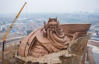 全球体量最大的关公雕像渐露真容