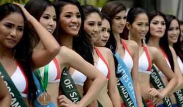 菲律宾地球小姐选美 佳丽着泳装号召环保