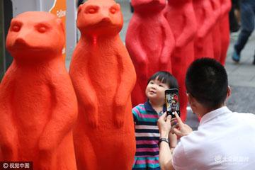 """上海:""""动物来袭""""艺术装置展成街头新风景"""