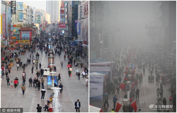 """雾霾与蓝天的对比 青岛地标凭空""""消失"""""""