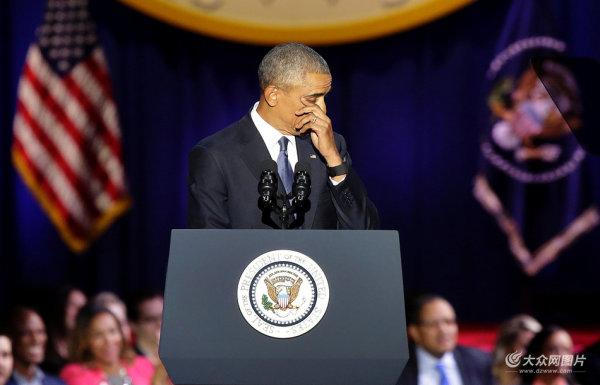 奥巴马告别演说几度动情落泪