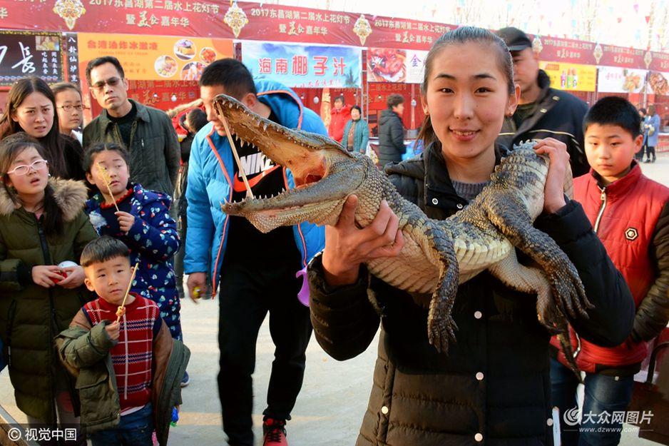 2月5日,山东聊城街头一条成年鳄鱼被挂在烧烤摊上,商贩现场制作鳄鱼肉烤串,20元一串,昔日张牙舞爪的鳄鱼被端上餐桌,吸引了不少顾客围观尝鲜。