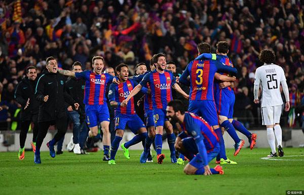 欧冠史诗级大逆转!巴塞罗那6-1翻盘巴黎