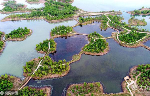 航拍济南湿地百岛湖 港汊纵横水流清冽