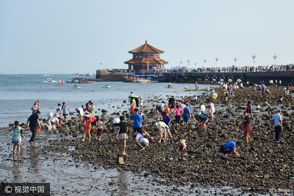 青岛数千游客扎堆赶海 螃蟹比指甲还小